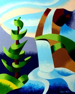Mark Webster - Abstract Waterfall with Pine Tree Landscape Oil Painting