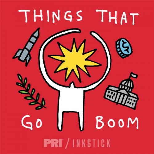 "Logo for PRI podcast ""Things That Go Boom"""