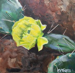 Desert Rose, Melissa A. Torres, 6x6 acrylic on cradled gesso board