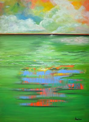 "Contemporary Abstract Seascape Painting ""Verdant Sea Harmony"" by International Contemporary Abstract Artist Arrachme"