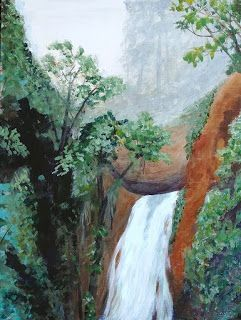 "Landscape Art, Waterfall Painting ""Rainforest Waterfall"