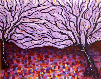 """Colorful Original Contemporary Landscape Art Painting, Purple Art,""""Into the Forest II"""" by Santa Fe Artist and Designer Melanie Birk"""