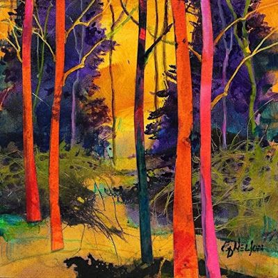 "Colorful Contemporary Abstract Landscape Art ,Aspen Tree ""Forest Wonders 4- Mini"" by Colorado Mixed Media Abstract Artist Carol Nelson"