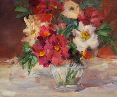 """Still Life Floral Painting, Fine Art Oil Painting, Flower Art """"Wild Roses"""" by Colorado Contemporary Fine Artist Jody Ahrens"""