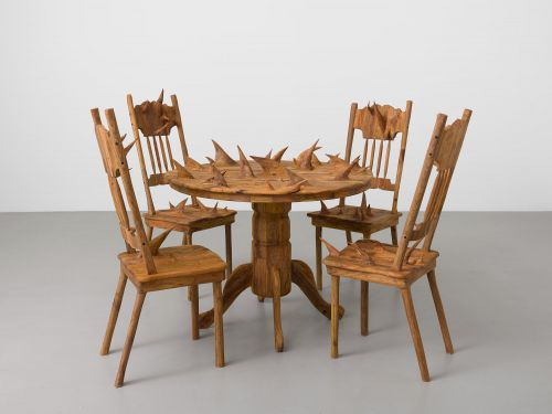 Domestic Sculptures Formed With Wood Grown at the United States and Mexico Border by Hugh Hayden