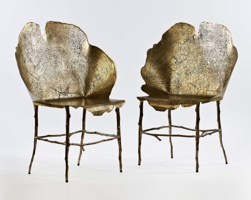 Tree Stump Patterns Transformed into Bronze and Etched Brass Chairs by Sharon Sides
