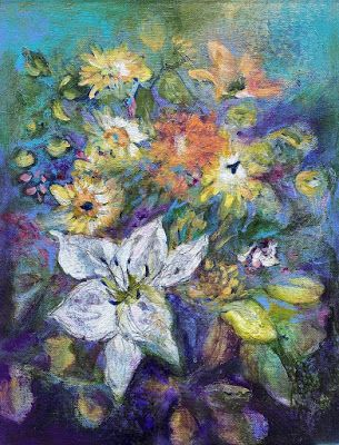 """Contemporary Floral Painting, Botanical Art """"ANNUAL REFRAIN"""" by Contemporary Artist Liz Thoresen"""