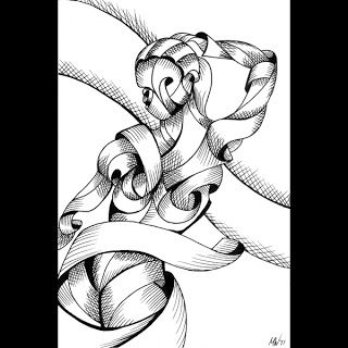 Mark Webster - Jenni 38-01 - Abstract Nude Figurative Pen and Ink Drawing