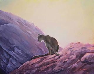 """Wildlife Art, Cat, Mountain Lion Painting """"SUNRISE, MCELMO CANYON"""" by Nancee Jean Busse"""