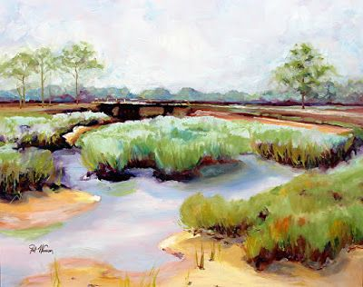 "Georgia Landscape Painting ""Bridge Over"" by Georgia Artist Pat Warren"