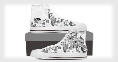 These Shoes Feature a Vintage Nikon Camera Patent Illustration