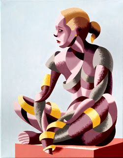Mark Webster - Michaela 24.03 Abstract Geometric Futurist Figurative Oil Painting