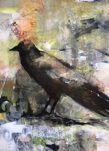 "Raven,Contemporary Bird Art Painting, ""Messenger"" by Intuitive Artist Joan Fullerton"