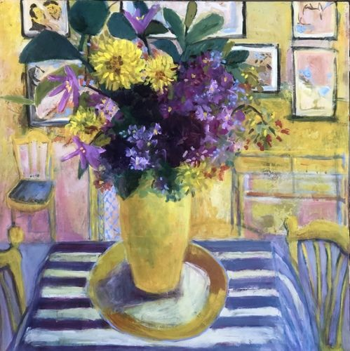 """Contemporary Abstract Bold Expressive Still Life Flower Art Painting """"Monet's Table"""" by Santa Fe Artist Annie O'Brien Gonzales"""