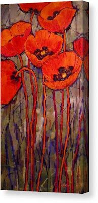 """Contemporary Floral, Poppies, Fine Art Print """"Oriental Red """" by Carol Nelson Fine Art"""