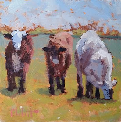 Contemporary Cow Art Original Oil Painting Heidi Malott