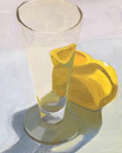 Clear Beer Glass and Yellow Pitcher