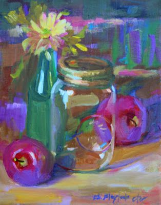JAR WITH GREEN BOTTLE AND APPLES BY ELIZABETH BLAYLOCK