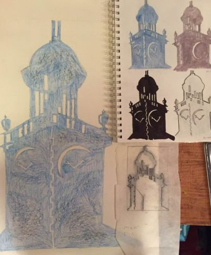 """Six Steeples"" 10 x 20 watercolor pencil multi"