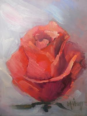 Red Rose Study, Small Oil Painting, Daily Painting, Flower Still Life. Flower Art. 6x8
