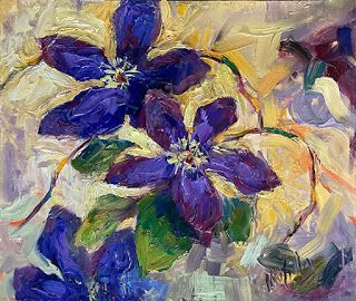 Textured Purple Clematis Painting by Contemporary Impressionist Niki Gulley