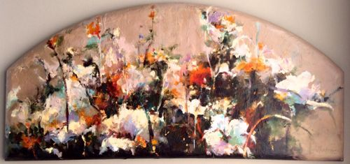 "Contemporary Botanical Floral Painting ""ARCHED GARDEN"" by Intuitive Artist Joan Fullerton"