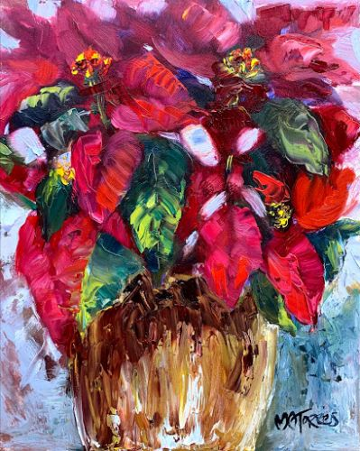 Poinsettia, by Melissa A. Torres, 8x10 oil on panel