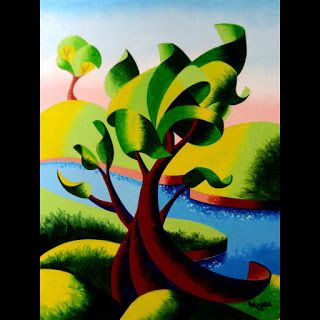 Mark Webster - Abstract Geometric Landscape Oil Painting