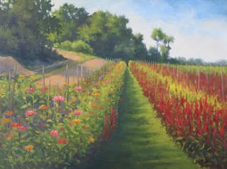 'Flower Farm Shadows' An Original Oil Painting by Claire Beadon Carnell