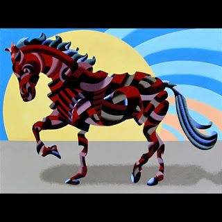 Mark Webster - Abstract Geometric Futurist Horse Oil Painting