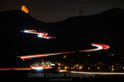 Shooting and Editing Multiple Night Exposures: Moonrise Over Car Trails