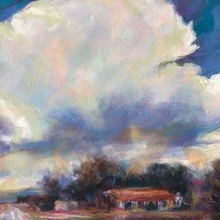 "JUST A HOUSE - 7"" x 7"" landscape pastel by Susan Roden"