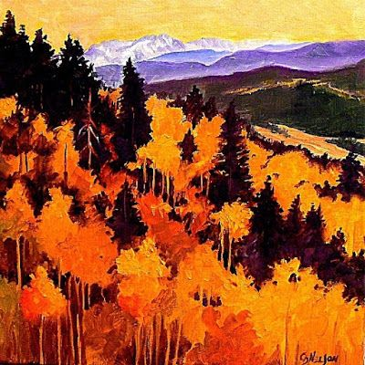 "Contemporary Landscape, Fine Art Oil Painting ""Autumn Splendor"" by Colorado Mixed Media Abstract Artist Carol Nelson"