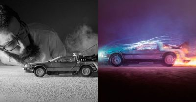 These DeLorean Photos Were Shot with a Toy Car, Fire, and Light Painting
