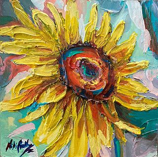 Day 30 - Happy Sunflower Palette Knife Painting by Niki Gulley