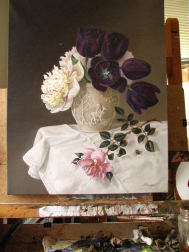 Peonies, roses, purple tulips classical still life oil painting large