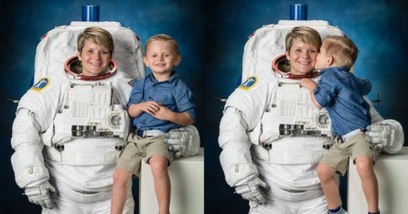 NASA Astronaut Brings 4-Year-Old Son to Spacesuit Photo Shoot