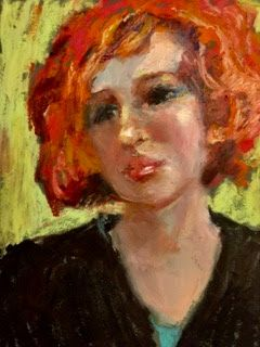 Sarah with Red Hair - original oil pastel portrait