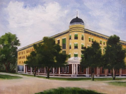 Majestic Hotel, building, oil painting, Barbara Haviland