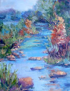 Distant River Blues, New Contemporary Landscape Painting by Sheri Jones