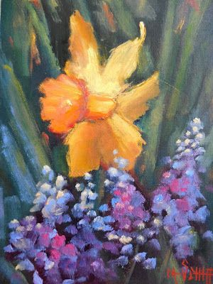Daffodil Painting,Flower Painting Daily Painting, Small Oil Painting, 6x8