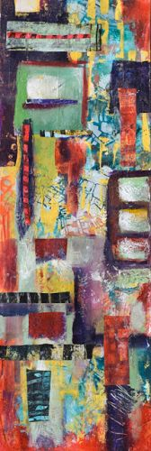 "Vertical Art, Contemporary Abstract Painting, Mixed Media, Art For Sale ""Cityscape"" by Santa Fe Contemporary Artist Sandra Duran Wilson"