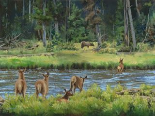 "Wildlife, Western Landscape Painting ""Elk Calves Crossing the Madison River"" by Colorado Artist Nancee Jean Busse, Painter of the American West"