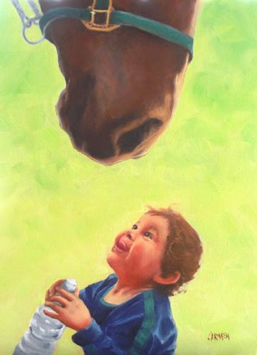 Riley and Friend, 9x12 Oil on Canvas, Portrait of Child with Horse