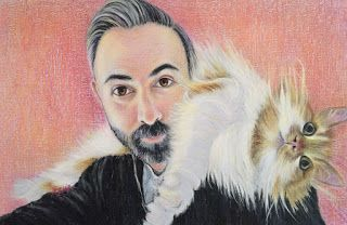 Matt and the Cat .portrait in pastel by Kim Blair