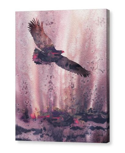 Flying To Freedom Eagle Watercolor Silhouette Painting