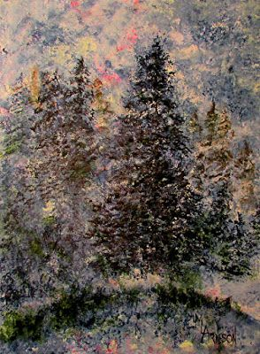"Small Landscape Tree Fine Art Painting ""Moody Pines"" by Mary Arneson Art-Works of Whimsy"