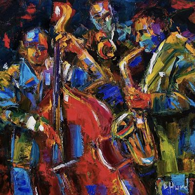 "Abstract Jazz Painting, Sax,Trumpet, Music Art Paintings ""Jazz"" By Texas Artist Debra Hurd"