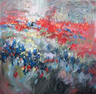 """Symphony in Springtime"" Abstract Bluebonnet Painting by Niki Gulley"