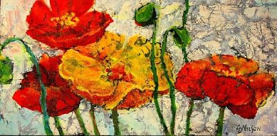 "Mixed Media Flower Art Painting ""THREE REDS AND A YELLOW"" by Colorado Mixed Media Artist Carol Nelson"